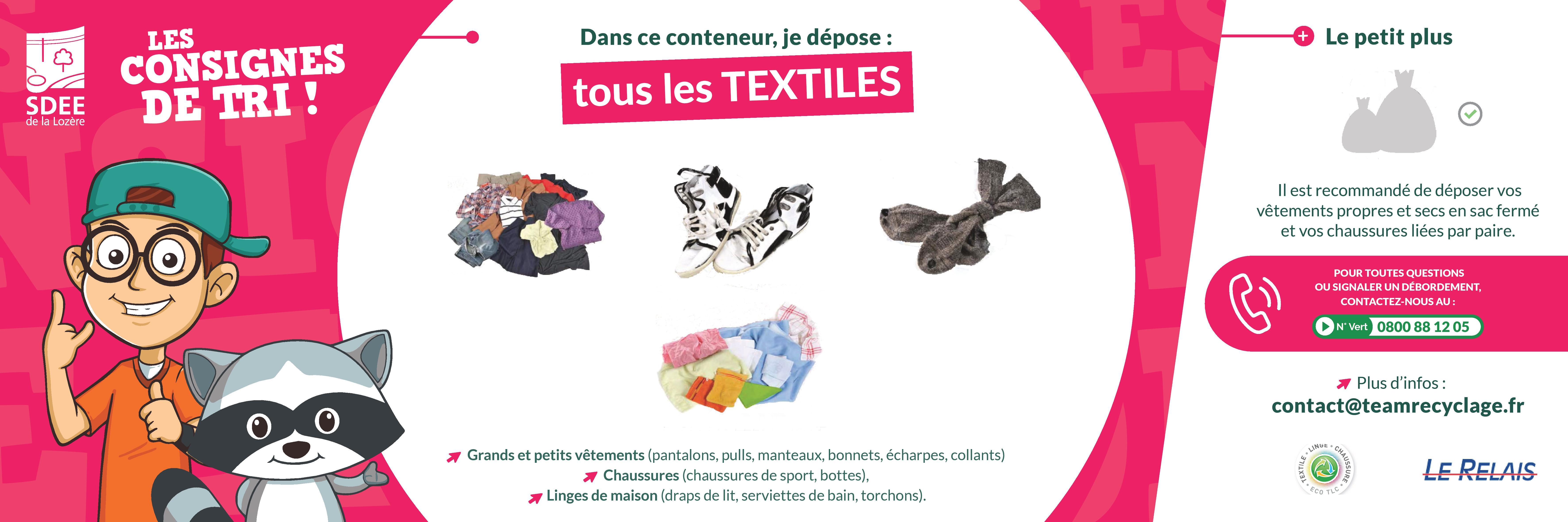 Les consignes de tri pour les textiles, linges, chaussures