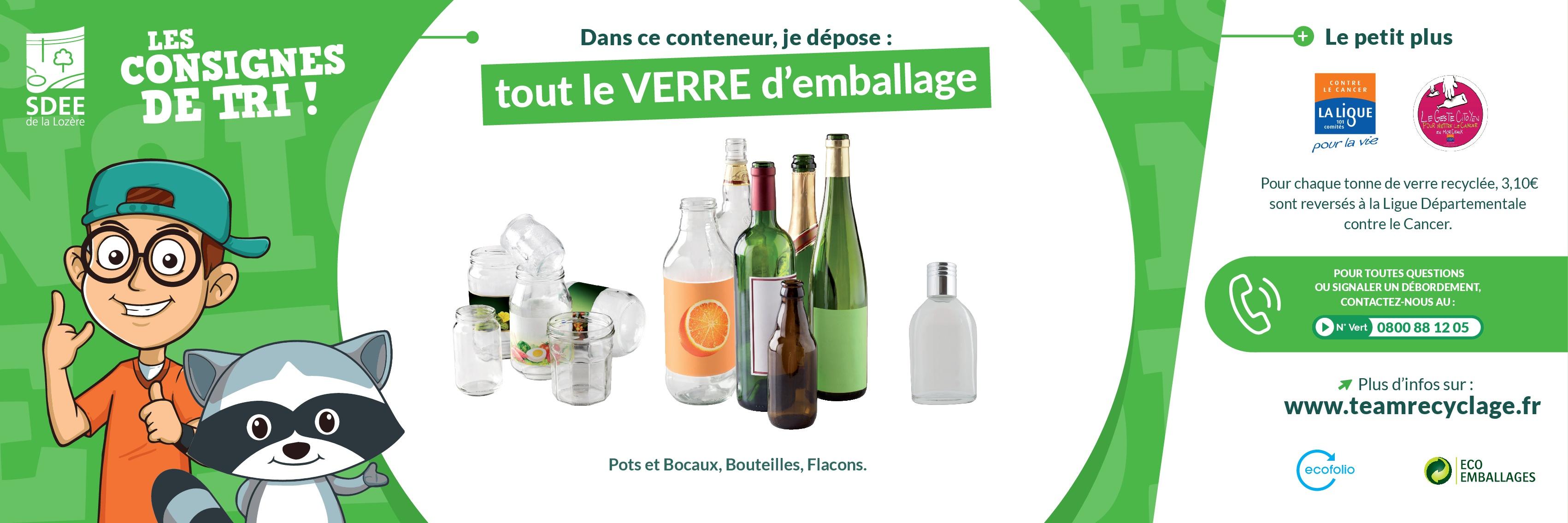 Les consignes de tri pour les verre d'emballage (pots et bocaux, bouteilles et flacons)