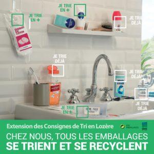 Affiche extension des consignes de tri emballages salle de bain
