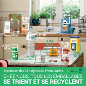 Affiche extension des consignes de tri emballages cuisine